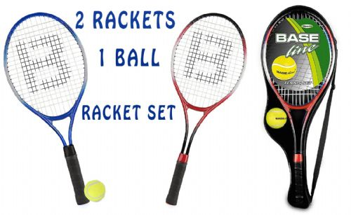 Aluminium Tennis Racket Set, 2 Rackets 1 Ball Summer Outdoor with Carry Case